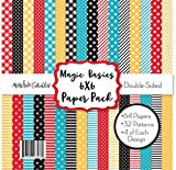 6X6 Pattern Paper Pack - Magic Basics - for Disney - Card Making Scrapbook Specialty Paper Double-Sided 6'x6' Collection Includes 64 Sheets - by Miss Kate Cuttables