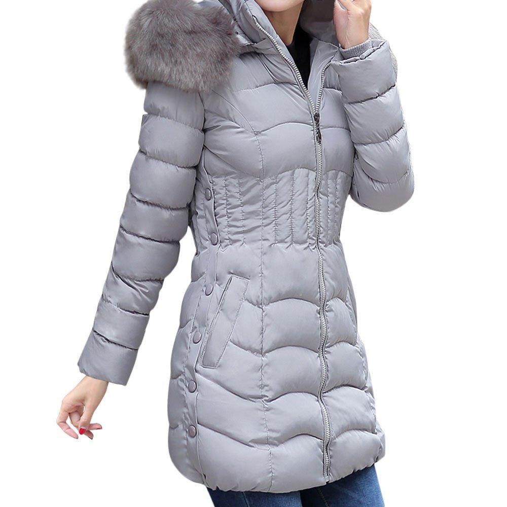 Kemilove Womens Winter Warm Hooded Long Jacket Fur Down Cotton Coat Long Parka Trench