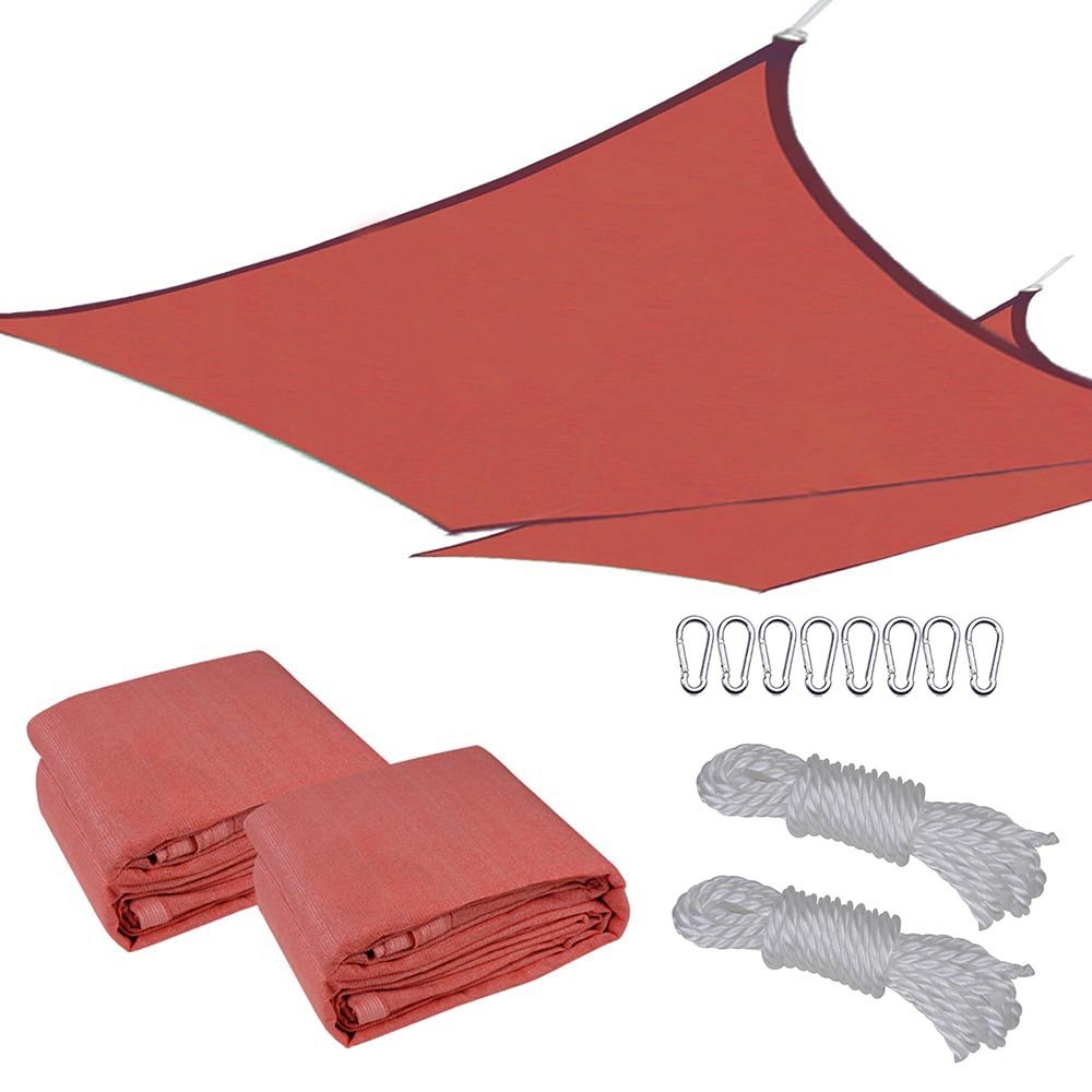 Yescom 2 Pcs 16x16' Square Sun Shade Sail Top Outdoor Canopy Patio Cover Red