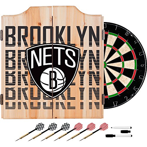 Trademark Gameroom NBA7010-BN3 NBA Dart Cabinet Set with Darts & Board - City - Brooklyn Nets by Trademark Global
