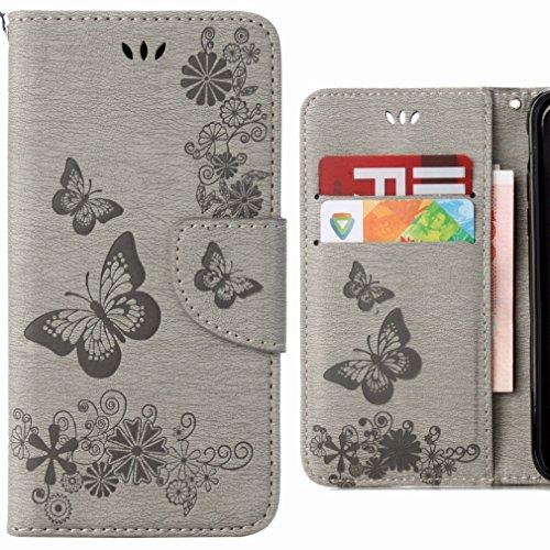 Custodia Motorola Moto G4 Cover Case, Ougger Fiore Farfalla Portafoglio PU Pelle Magnetico Stand Morbido Silicone Flip Bumper Protettivo Gomma Shell Borsa Custodie con Slot per Schede (Grigio)