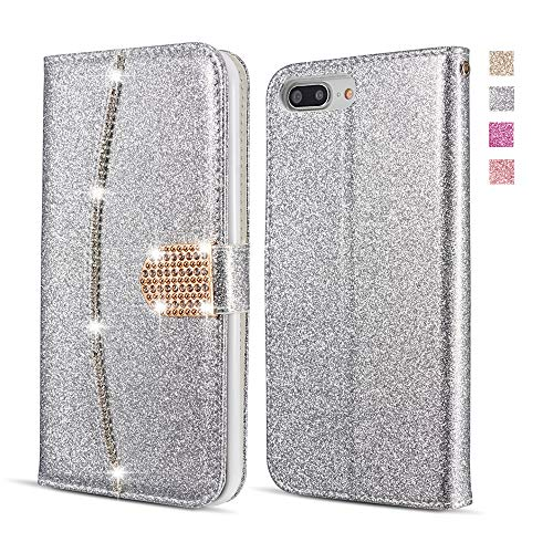 UEEBAI Wallet Flip Case for iPhone 6 6S, Premium Glitter Glossy PU Leather Case with Diamond Buckle [Card Slots] [Magnetic Clasp] Stand Function Rhinestone Strap Handbag Soft TPU Cover - Silver ()