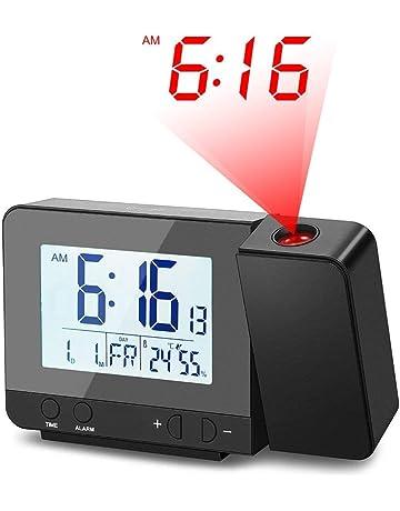 HAIFENG Despertador proyector, Reloj Despertador Digital con Pantalla LCD Grande, Reloj Digital con alarmas