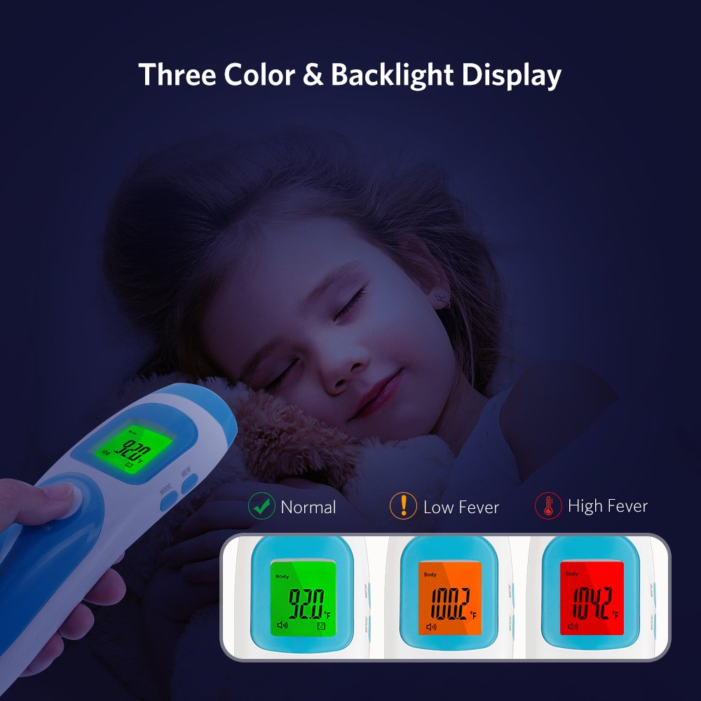 Liaboe Non Contact Infrared Forehead Thermometer, 3 in 1 Body/Surface/Room Temperature Reading Device, LCD Three Color Over Temperature Alarm Display Baby Adults Thermometer, FDA Approved by Liaboe (Image #4)