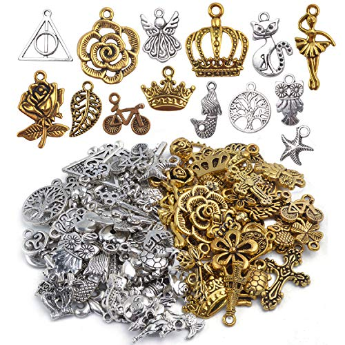 - Mixed Craft Charms Pendants, About 100 Pieces Mixed Antique Silver and Gold Small Pendants Charms Jewelry Findings Making Accessory for DIY Necklace Bracelet Earrings