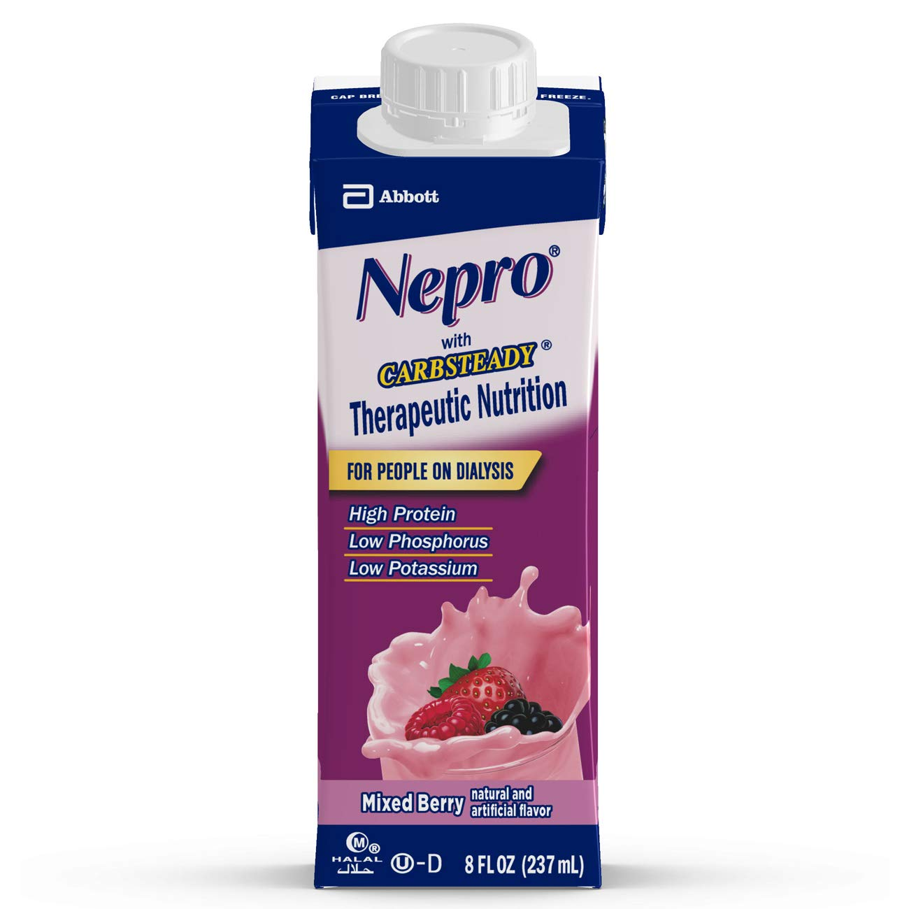 Nepro Therapeutic Nutrition Shake with 19 grams of protein, Nutrition for people on Dialysis, Mixed Berry, 8 fl ounces, (Pack of 24) by Nepro (Image #1)
