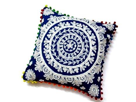 Amazon.com: Suzani hecho a mano cojín manta India sofá ...