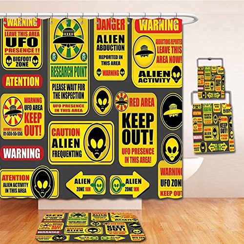 Beshowereb Bath Suit: Showercurtain Bathrug Bathtowel Handtowel Outer Space Decor Warning Ufo Signs with Alien Faces Heads Galactic Paranormal Activity Design Yellow by Beshowereb