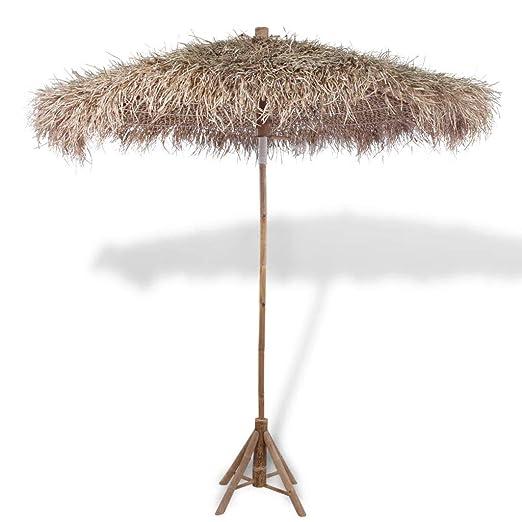 Tidyard Sombrilla Bambú De Jardín Con Tejado De Hojas De