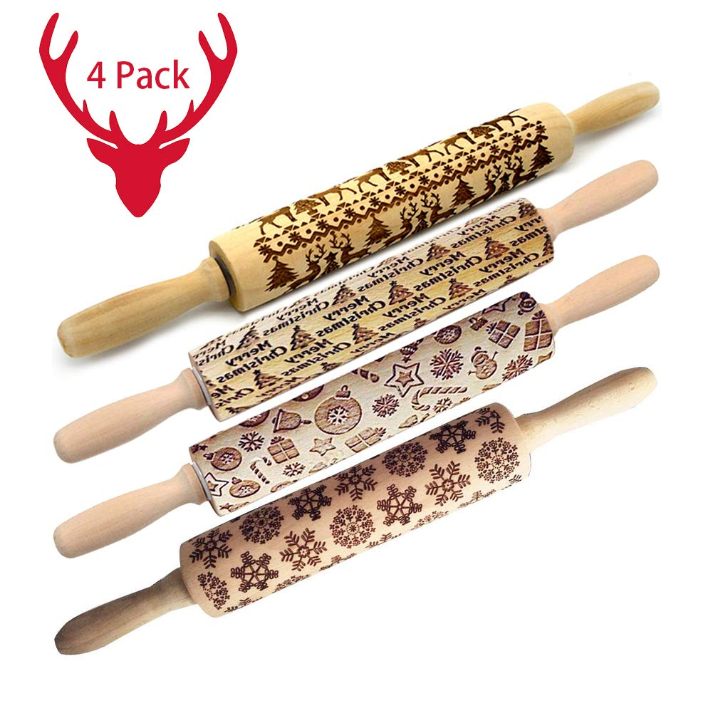 Christmas Wooden Rolling Pins,Engraved Embossing Rolling Pin with Christmas Deer Pattern for Baking Embossed Cookies,Rolling Pin Kitchen Tool (14inch) by HLovebuy