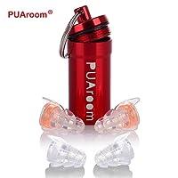 PUAroom MusicFun Protections auditives , 2 paires de bouchons en silicone souples réutilisables avec récipient en aluminium gratuit, bouchons d'oreille pour musiciens, concert, festival, discothèque, batterie, percussion DJs, motocyclettes, voyages(Orange)