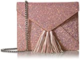 The Fix Izzi Glitter Envelope Clutch with Chain Crossbody Strap, Aurora Blush