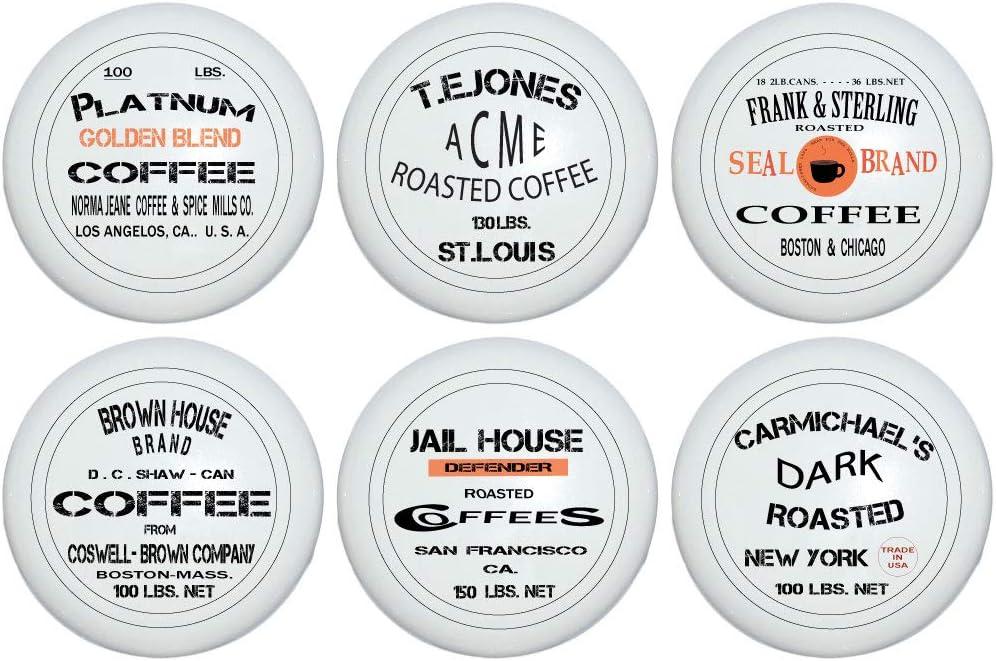Vintage Coffee Crate Logo Signs Drawer Knob Pulls Designer Antique Advertizement Sign Coffee Shop Ceramic Kitchen Cabinet Hardware Handles Set Of 6 Amazon Com