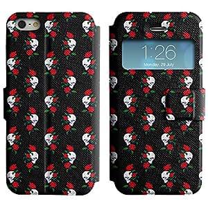 AADes Casa Carcasa Funda Case Bandera PU Cuero - Stand Function - Apple iPhone 5 / 5S ( Cráneo y Rose )