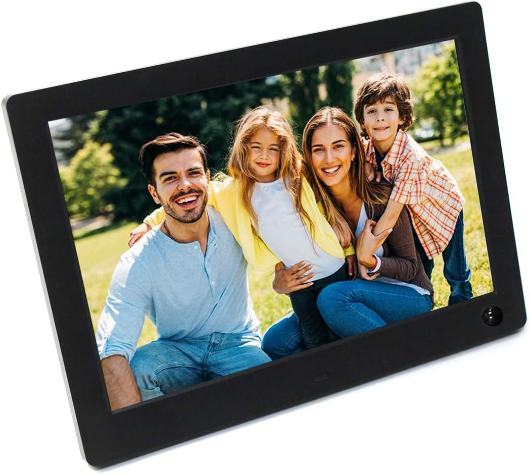 Polarpra Digital Photo Frame,10 Inch Digital Picture Frame with HD IPS Panel,Picture Frames Wide Viewing Degree,Motion Sensor,Video Calendar Photo Alarm Music Around,USB SD Port Remote Control-Black