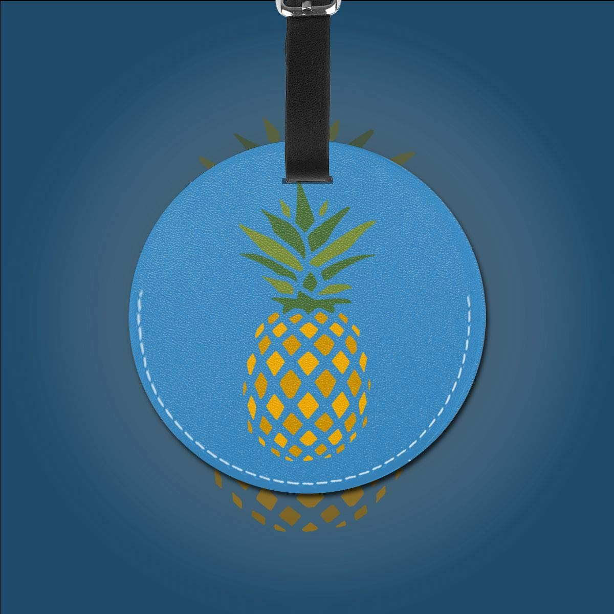 1pcs,2pcs,4pcs Creative Pineapple Right Down Pu Leather Double Sides Print Round Luggage Tag Mutilple Packs