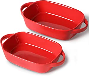 LEETOYI Porcelain Bakeware Set, Rectangular Baking Dish with Double Handle,Ceramics Baking Pans for Kitchen, Cooking, Cake Dinner,1 or 2 person servings 10.5-Inch/9-Inch (Red)