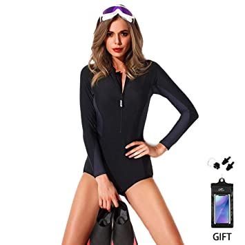 4fb3ee48ca Swimming Costume FOCLASSY Ladies Sports BIKINI Swimsuit One Piece Long  Sleeves Plus Size Zip Front Push