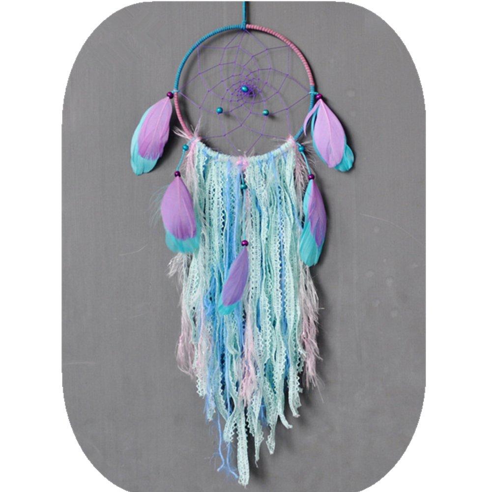 "CHICIEVE Mini Bohemian Small Green Blue Dream Catchers Bag Car Accessories Feather Lace Ornament Decoration ~ Length 11.8"" Diameter 3.2"" WX"