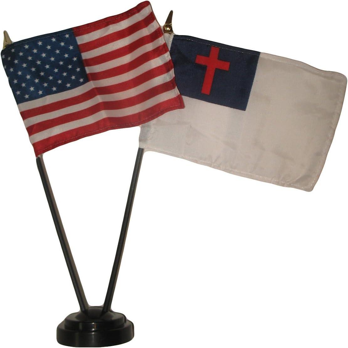 "AWS USA American w/Christ Christian Flag 4""x6"" Desk Set Black Base (Imported)"