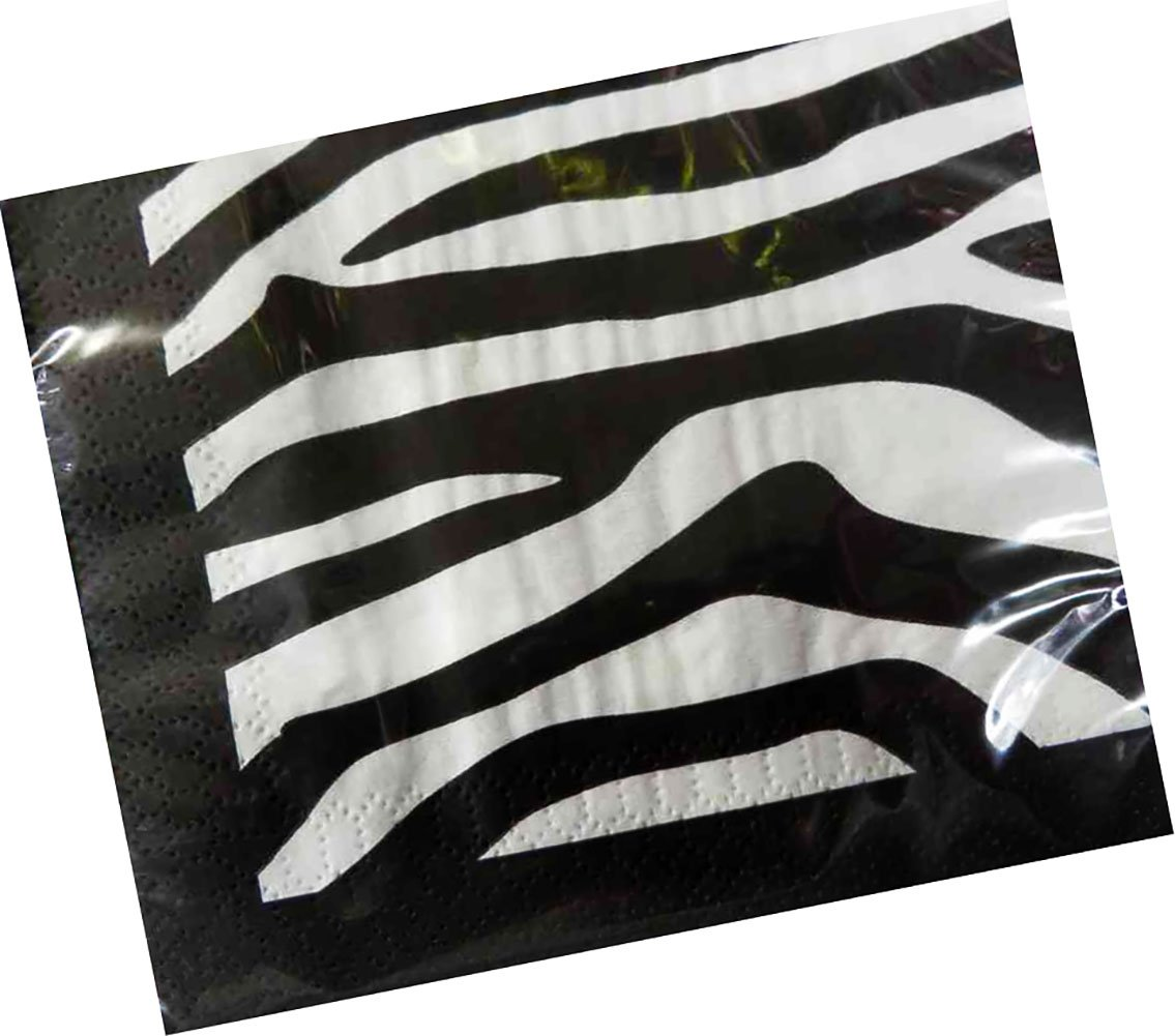 """Custom Made & Disposable {6.5"""" Inch} 16 Count of 2 Ply Mid Size Square Food & Beverage Napkins, Made of Soft Absorbent Paper w/ Vibrant Eco Zebra Animal Print Classic Style {Grey, Black & White}"""