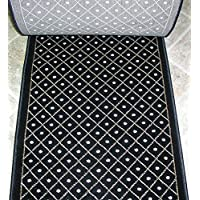 157617 - Rug Depot Royale 782 Black Casual Trellis Hall and Stair Runner - 26 Wide Hallway Rug Runner - Custom Sizing - Black Background - Choose Your Length - 26 x 12 feet
