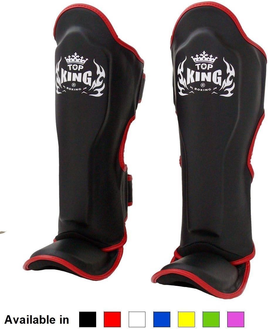 Black White Red Blue Green Pink Size S M L XL Shin Protection for Muay Thai Kick Boxing MMA K1 KINGTOP Top King Muay Thai Shin Pads TKSGP GL Shin Guards Pro Genuine Leather