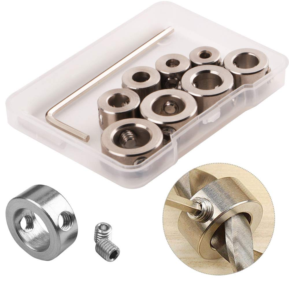 8PCS Drill Bit Depth Stop Collar WPERSUVV 3-10mm Drill Bit Depth Stop Collar Ring Positioner Spacing Ring Positioner Locator Durable Woodworking Drill Bit with Hex Wrench