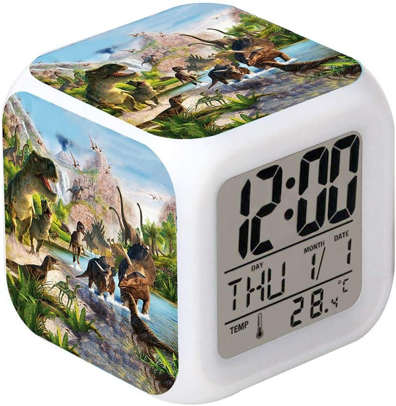 Cointone LED Alarm Clock Dinosaur Jurassic Design Creative Desk Table Clock Glowing Electronic Colorful Digital Clock for Unisex Adults Kids Toy Birthday Present