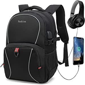 Durable Travel Laptop Backpack, School Computer Backpack with USB Charging Port & Headphone Interface, Water Resistant Book Bag for Women & Men Fits 14-17.5 Inch Laptop and Notebook