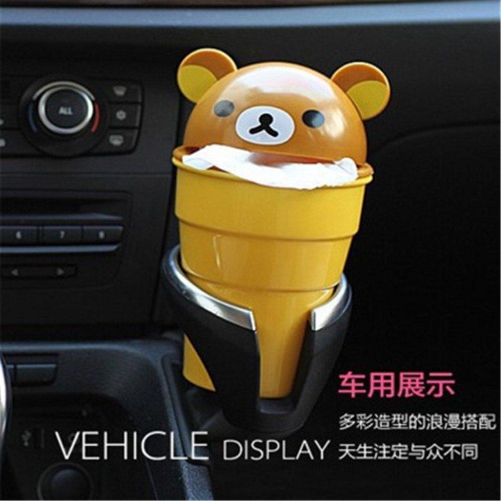 QIYUEQI Abs-Kunststoff Multifunktion 6 7 Cm hoch oben am unteren Rand 17 cm 10 cm gelb Umweltfreundlich und leicht zu reinigen Auto M/ülleimer Aufbewahrungstasche