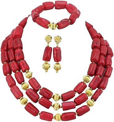 AfricanBeads 3 filas rojo Coral Mujer Joyas para disfraz de ...