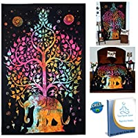 Your Spirit Space (TM) Rainbow Good Luck Elephant Tapestry-Quality Home or Dorm Hippie Wall Hanging. The Ultimate Bohemian Decoration.
