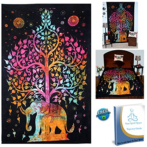 Wall Hanging Tapestry Elephant Tree Of Life BOHO Tie Dye Hippie for Bedroom Decoration Dorm Room Beach Bedspread Large 52x82 by Your Spirit (Tie Dye Wall Tapestries)
