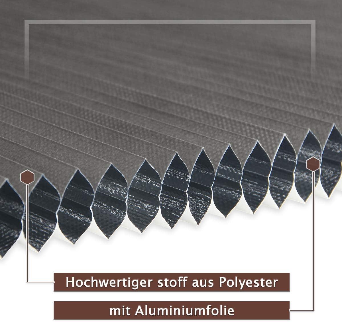 Weiss-Grau Doppelplissee Honeycomb Honigfalte Zweifarben f/ür Fenster und T/ür Atlaz Wabenplissee Verdunklung Thermo ohne Bohren mit Klemmtr/äger 60 x 140 cm BxH