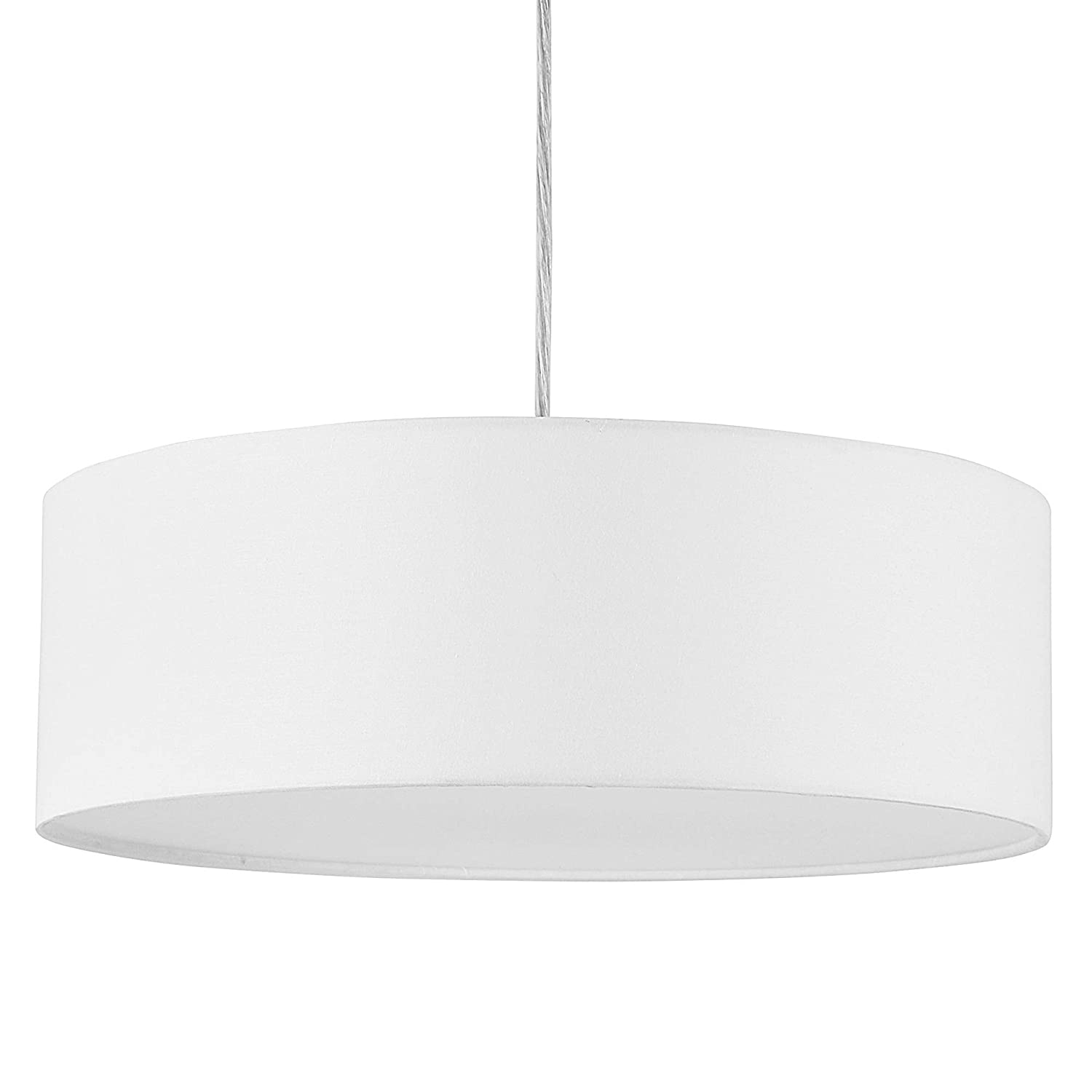 """Modern Pendant Light, 15.8"""" Classic 3-Light Drum Ceiling Chandelier, White Drum Shade, Round Frosted Acrylic Diffuser, Lamps for Living Room"""