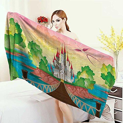 - Quick-Dry Towels Children Princess Castle above Wooden Bridge and Phoenix Bird Fairy Dream World Girls Image Wrap Towels 55