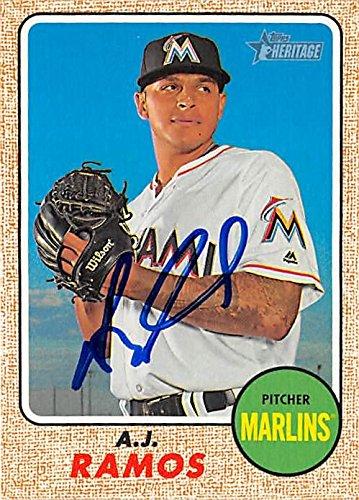 Aj Ramos Autographed Baseball Card Miami Marlins 2017 Topps