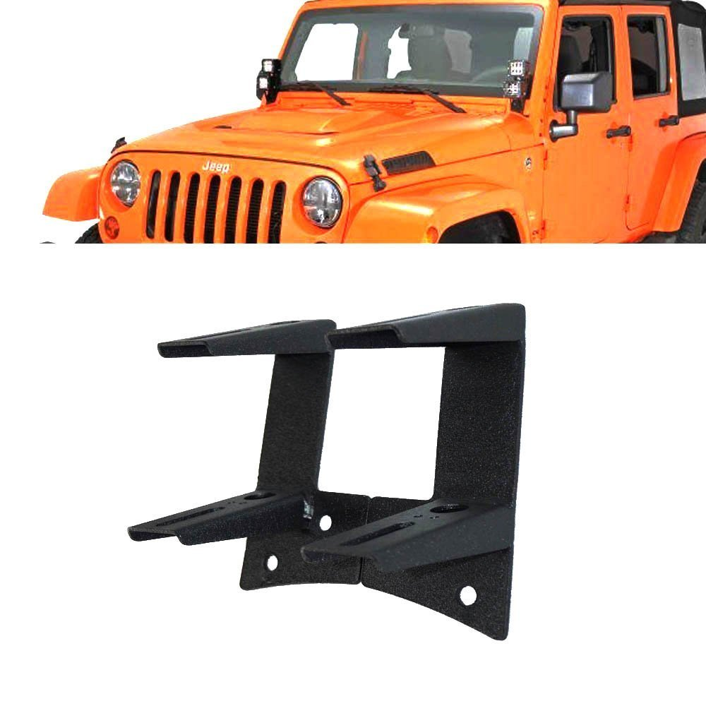 Windshield A-pillar Lower Corner Hinge Mount Dual Mounting Brackets For Off Road Spot LED Work Lights 4 Inch Pods Cube Fog Lights On 2007-2013 Jeep Wrangler JK JKU QUAKEWORLD