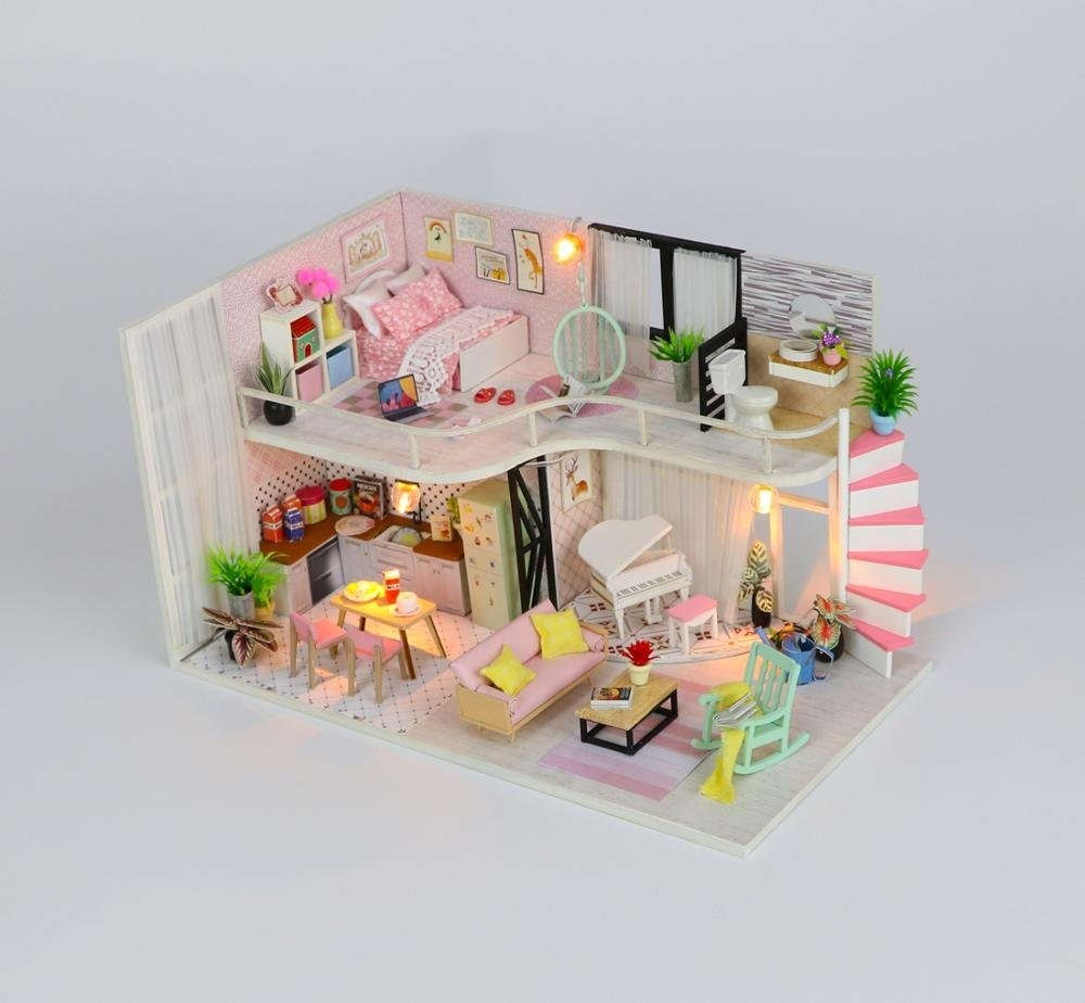 WYD Modern Loft Duplex Apartment Series Dollhouse Miniature DIY House Kit Creative Room With LED Lights Perfect Handmade Gift for Friends,Lovers and Families(Anna's pink melody)
