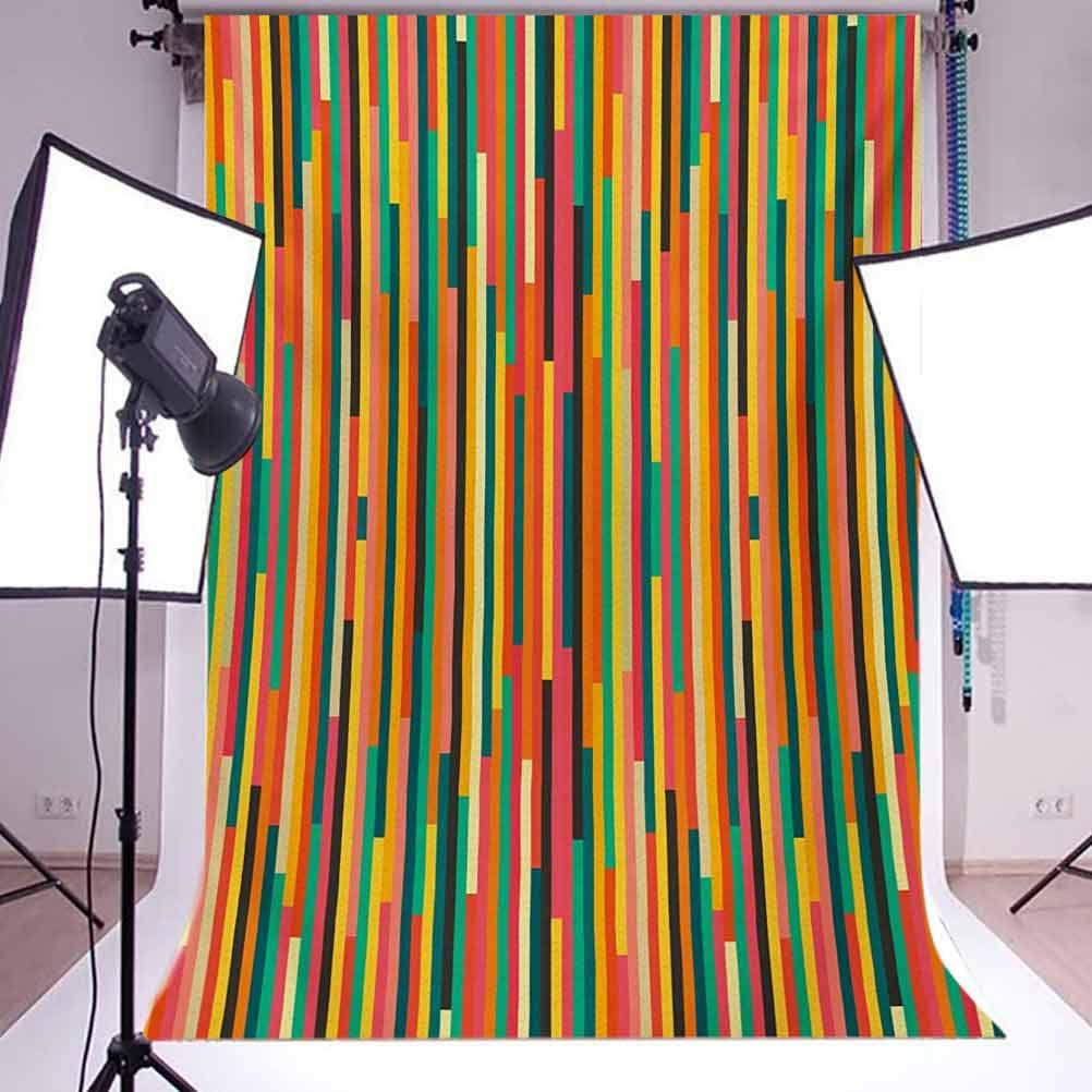 Rainbow Colored Geometric Lines Vintage Design Mosaic Pattern Retro Abstract Image Background for Baby Birthday Party Wedding Vinyl Studio Props Photography Striped 10x15 FT Photography Backdrop