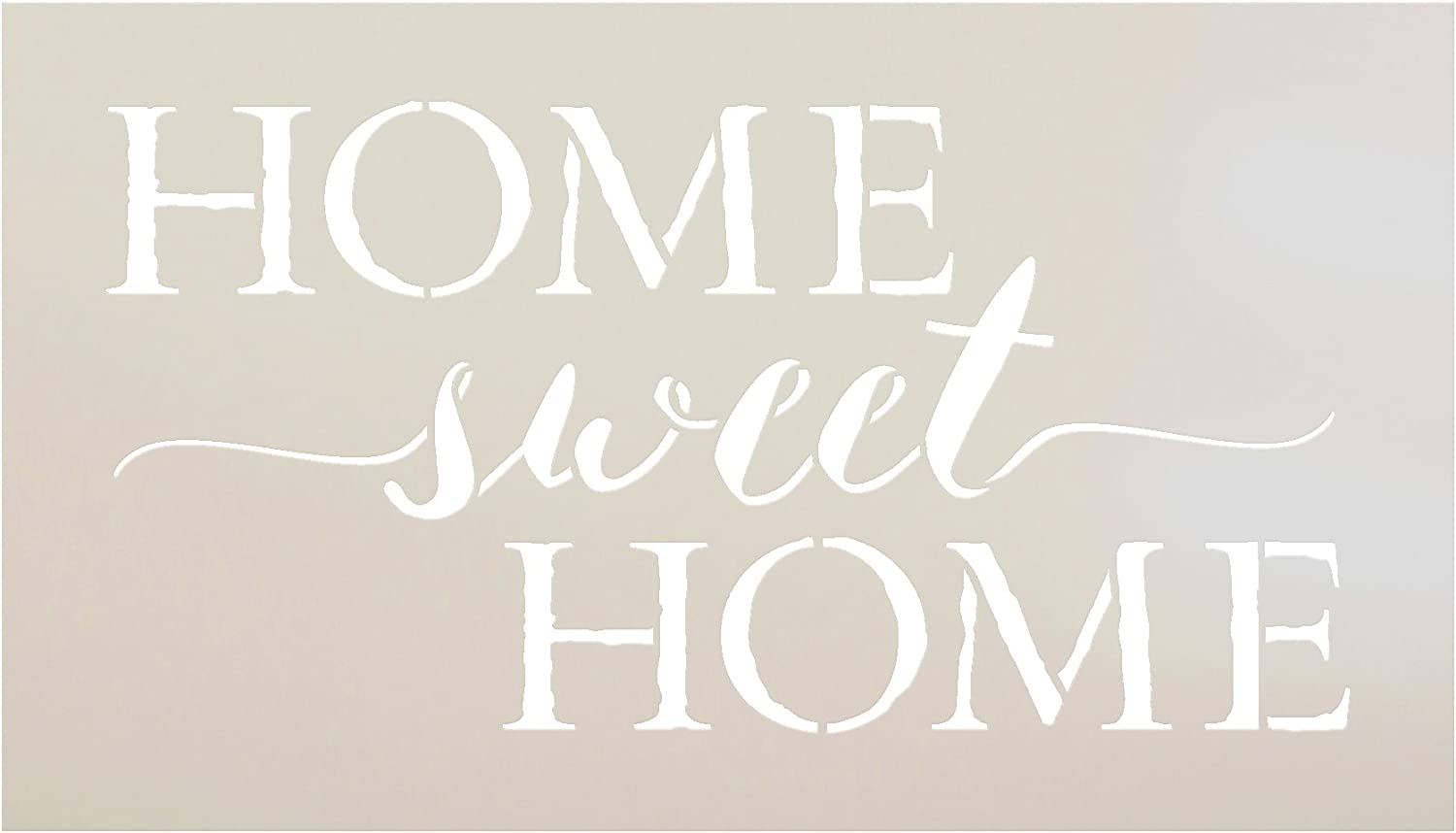 "Home Sweet Home Word Stencil by StudioR12 | Charming Rustic - Reusable Mylar Template | Painting, Chalk, Mixed Media | DIY Home Decor - STCL1749 | Select Size | (14"" x 8"")"