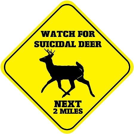 Suicidal Deer Crossing Xing Symbol Highway Route Sign