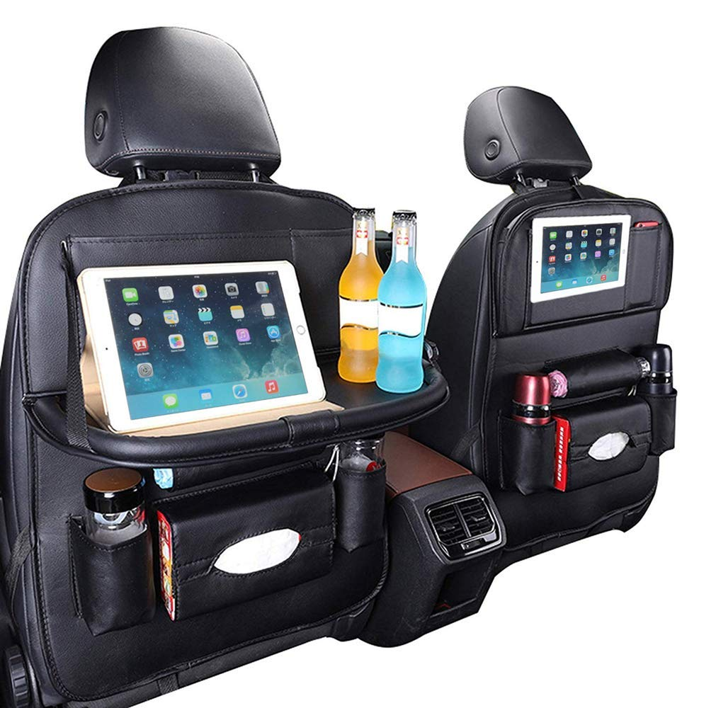 Ximito Car Backseat Organizer 2 Pack Babies Toys Car Seat Protector with Leather Foldable Dining Table Tray PU Leather Car Back seat Organizer for Pets