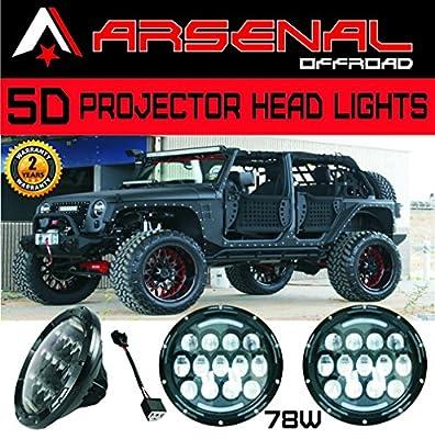 """2017 Design 2x 7"""" 78W 5D LED Projector Head Lamps with DRL for Jeep Wrangler JK CJ LJ Hummer H1 H2 Harley Davidson"""