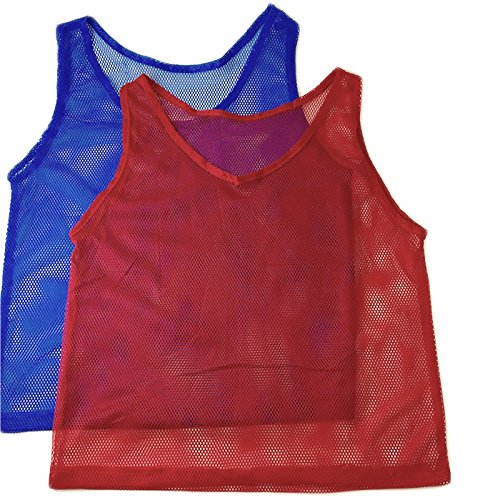 (Adorox 24 Pack Youth Scrimmage Team Practice Nylon Mesh Jerseys Vests Pinnies for Children Sports Football, Basketball, Soccer, Volleyball (12 Red and 12 Blue))