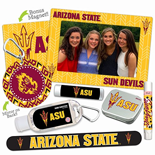 Arizona State Sun Devils—DELUXE Variety Set (Nail File, Mint Tin, Mini Mirror, Magnet Frame, Lip Shimmer, Lip Balm, Sanitizer). NCAA gifts, stocking stuffers. Only from Worthy. (Basketball Ncaa Pick Guaranteed)