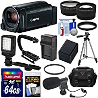Canon Vixia HF R800 1080p HD Video Camera Camcorder (Black) 64GB Card + Battery & Charger + Case + Tripod + Stabilizer + LED + Mic + 2 Lens Kit