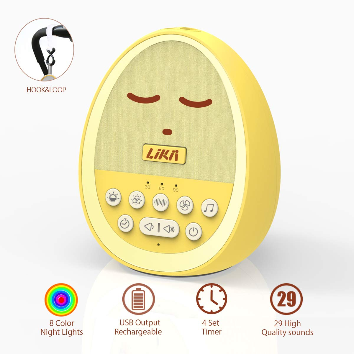 White Noise Machine, Sound Machine for Baby Sleeping, Portable Rechargeable Sound Machine, 29 Sounds with 8 Colour Nightlight, Compact and Cute Yellow Egg Shape for Baby, Kid, Infant by LIKII