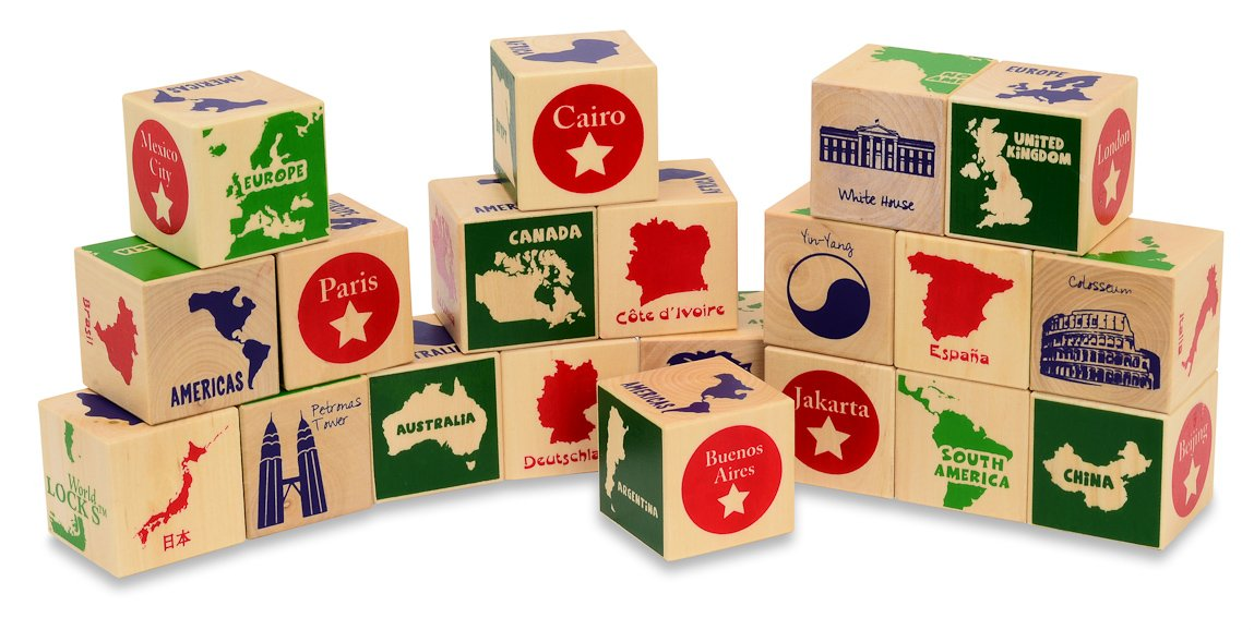 GeoToys World GeoBlocks - Wooden Blocks Set for Toddlers and Up - Educational and a Fun Matching Geography Game - Put Together a Full Word Puzzle - Made of Safe and Natural Materials